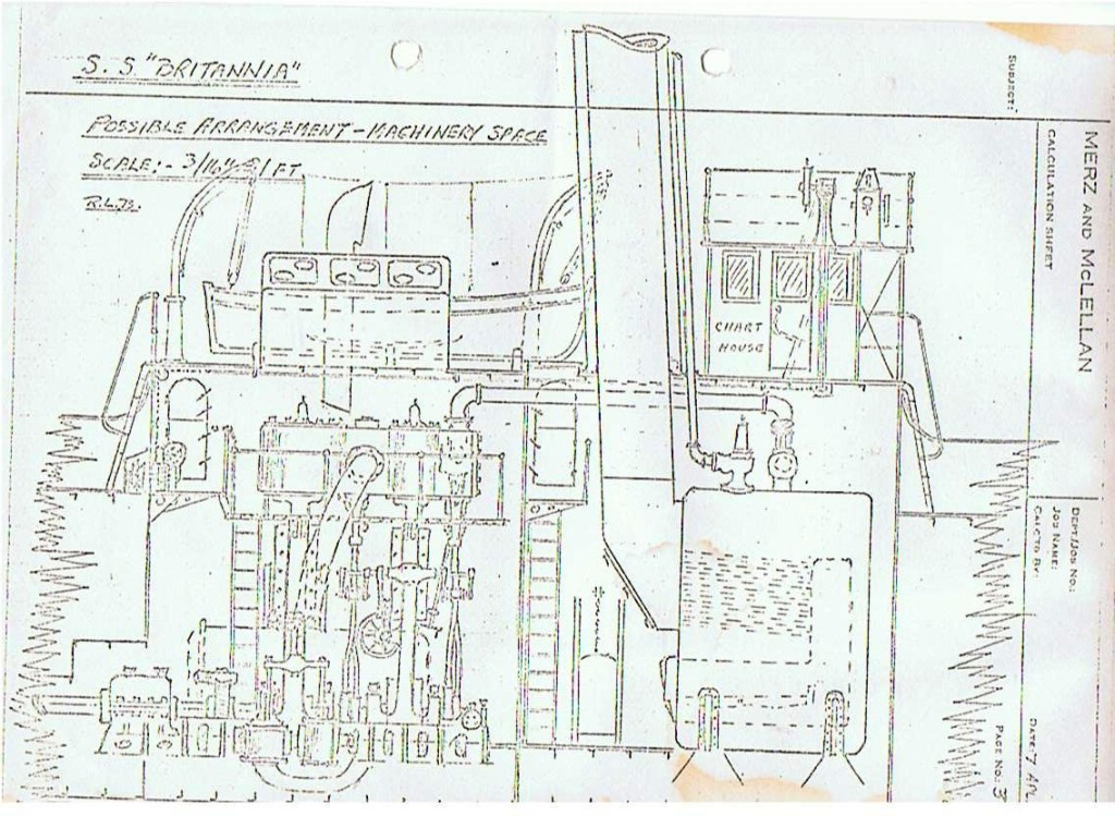 A schematic of the wrecks engine space.