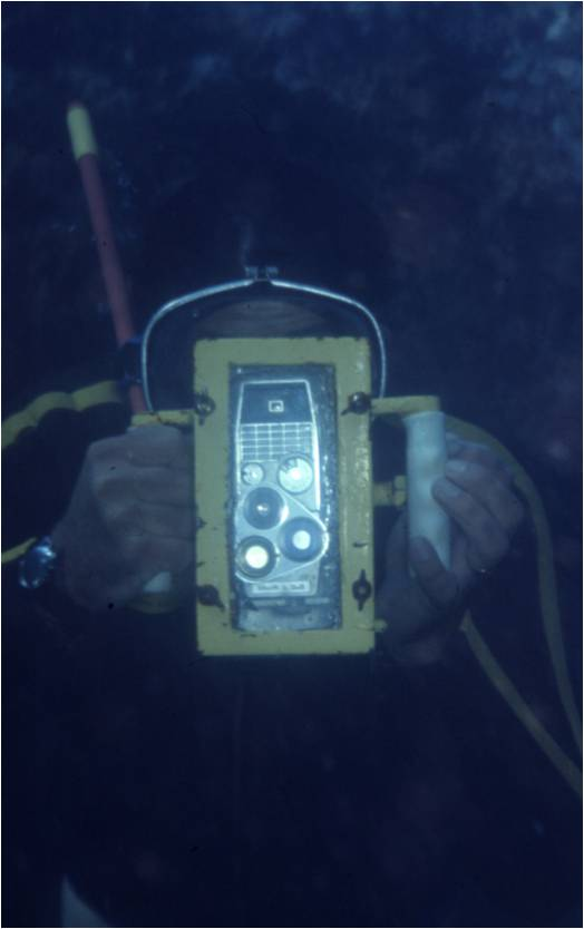 Early homemade underwater camera housing.